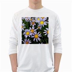 Yellow White Daisy Flowers Men s Long Sleeve T Shirt (white)