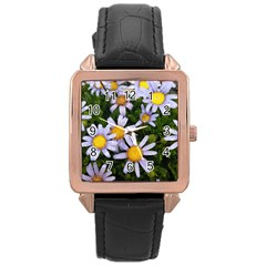 Yellow White Daisy Flowers Rose Gold Leather Watch