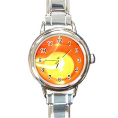 Orange Yellow Flame 5000 Round Italian Charm Watch by yoursparklingshop