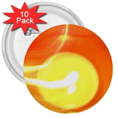 Orange Yellow Flame 5000 3  Button (10 Pack)