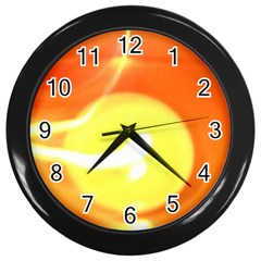 Orange Yellow Flame 5000 Wall Clock (black) by yoursparklingshop