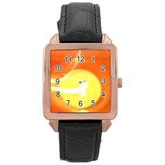 Orange Yellow Flame 5000 Rose Gold Leather Watch  by yoursparklingshop