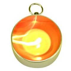 Orange Yellow Flame 5000 Gold Compass by yoursparklingshop