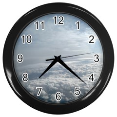 Sky Plane View Wall Clock (black) by yoursparklingshop