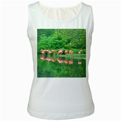 Flamingo Birds At Lake Women s Tank Top (white) by yoursparklingshop