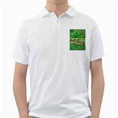 Flamingo Birds At Lake Men s Polo Shirt (white) by yoursparklingshop
