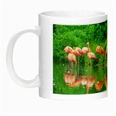 Flamingo Birds At Lake Glow In The Dark Mug by yoursparklingshop