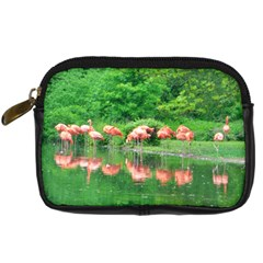 Flamingo Birds At Lake Digital Camera Leather Case by yoursparklingshop
