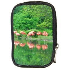 Flamingo Birds At Lake Compact Camera Leather Case by yoursparklingshop