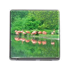 Flamingo Birds At Lake Memory Card Reader With Storage (square) by yoursparklingshop