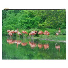 Flamingo Birds At Lake Cosmetic Bag (xxxl) by yoursparklingshop