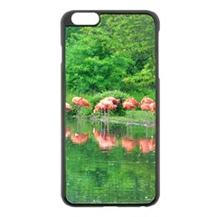 Flamingo Birds At Lake Apple Iphone 6 Plus Black Enamel Case