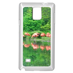 Flamingo Birds At Lake Samsung Galaxy Note 4 Case (white) by yoursparklingshop