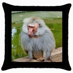 Grey Monkey Macaque Black Throw Pillow Case