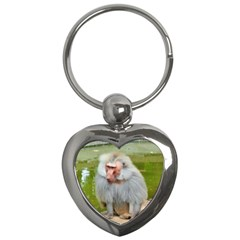 Grey Monkey Macaque Key Chain (heart) by yoursparklingshop