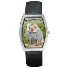 Grey Monkey Macaque Tonneau Leather Watch