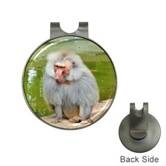 Grey Monkey Macaque Hat Clip With Golf Ball Marker by yoursparklingshop