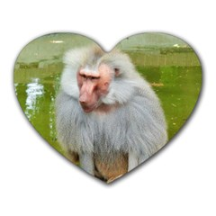 Grey Monkey Macaque Mouse Pad (heart)