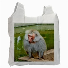 Grey Monkey Macaque White Reusable Bag (two Sides) by yoursparklingshop