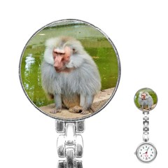 Grey Monkey Macaque Stainless Steel Nurses Watch by yoursparklingshop