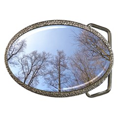 Large Trees In Sky Belt Buckle (oval) by yoursparklingshop