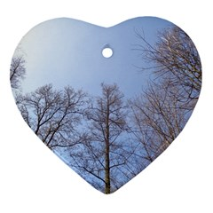 Large Trees In Sky Heart Ornament (two Sides) by yoursparklingshop