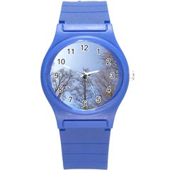 Large Trees In Sky Plastic Sport Watch (small)