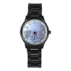 Large Trees In Sky Sport Metal Watch (black) by yoursparklingshop