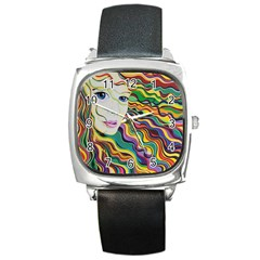 Inspirational Girl Square Leather Watch by sjart