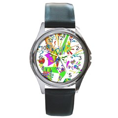 Splatter Life Round Leather Watch (silver Rim) by sjart