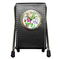 Splatter Life Stationery Holder Clock by sjart