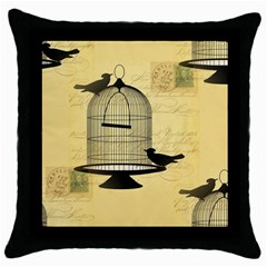 Victorian Birdcage Black Throw Pillow Case
