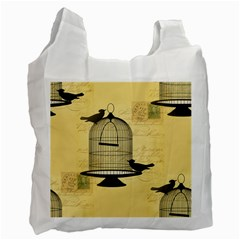 Victorian Birdcage White Reusable Bag (two Sides) by boho
