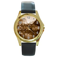 Native American Round Leather Watch (gold Rim)  by boho