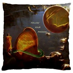 Follow Your Passion Large Flano Cushion Case (two Sides) by lucia