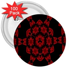 Red Alaun Crystal Mandala 3  Button (100 Pack) by lucia