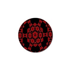 Red Alaun Crystal Mandala Golf Ball Marker 4 Pack by lucia