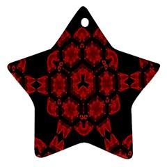 Red Alaun Crystal Mandala Star Ornament (two Sides) by lucia