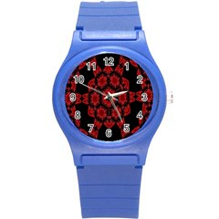 Red Alaun Crystal Mandala Plastic Sport Watch (small) by lucia