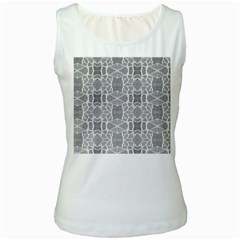 Grey White Tiles Geometry Stone Mosaic Pattern Women s Tank Top (white) by yoursparklingshop