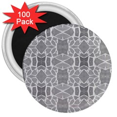 Grey White Tiles Geometry Stone Mosaic Pattern 3  Button Magnet (100 Pack) by yoursparklingshop
