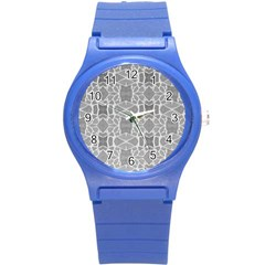 Grey White Tiles Geometry Stone Mosaic Pattern Plastic Sport Watch (small) by yoursparklingshop
