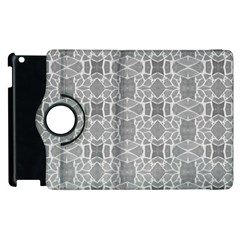 Grey White Tiles Geometry Stone Mosaic Pattern Apple Ipad 3/4 Flip 360 Case by yoursparklingshop