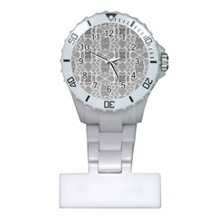 Grey White Tiles Geometry Stone Mosaic Pattern Nurses Watch by yoursparklingshop