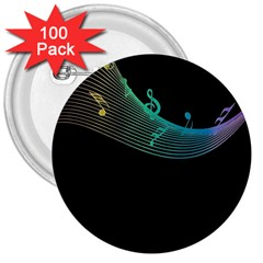Musical Wave 3  Button (100 Pack)