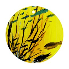 Yellow Dream Round Ornament by pwpmall