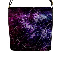 Pink Purple And Blue Crackled Lacquer Texture Bag Flap Closure Messenger Bag (l) by Bexilla