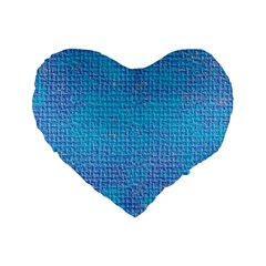 Textured Blue & Purple Abstract Standard 16  Premium Flano Heart Shape Cushion  by StuffOrSomething