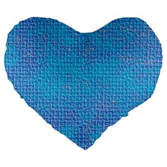 Textured Blue & Purple Abstract Large 19  Premium Flano Heart Shape Cushion by StuffOrSomething