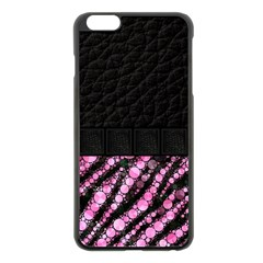 Pink Tiger Bling Apple Iphone 6 Plus Black Enamel Case by OCDesignss